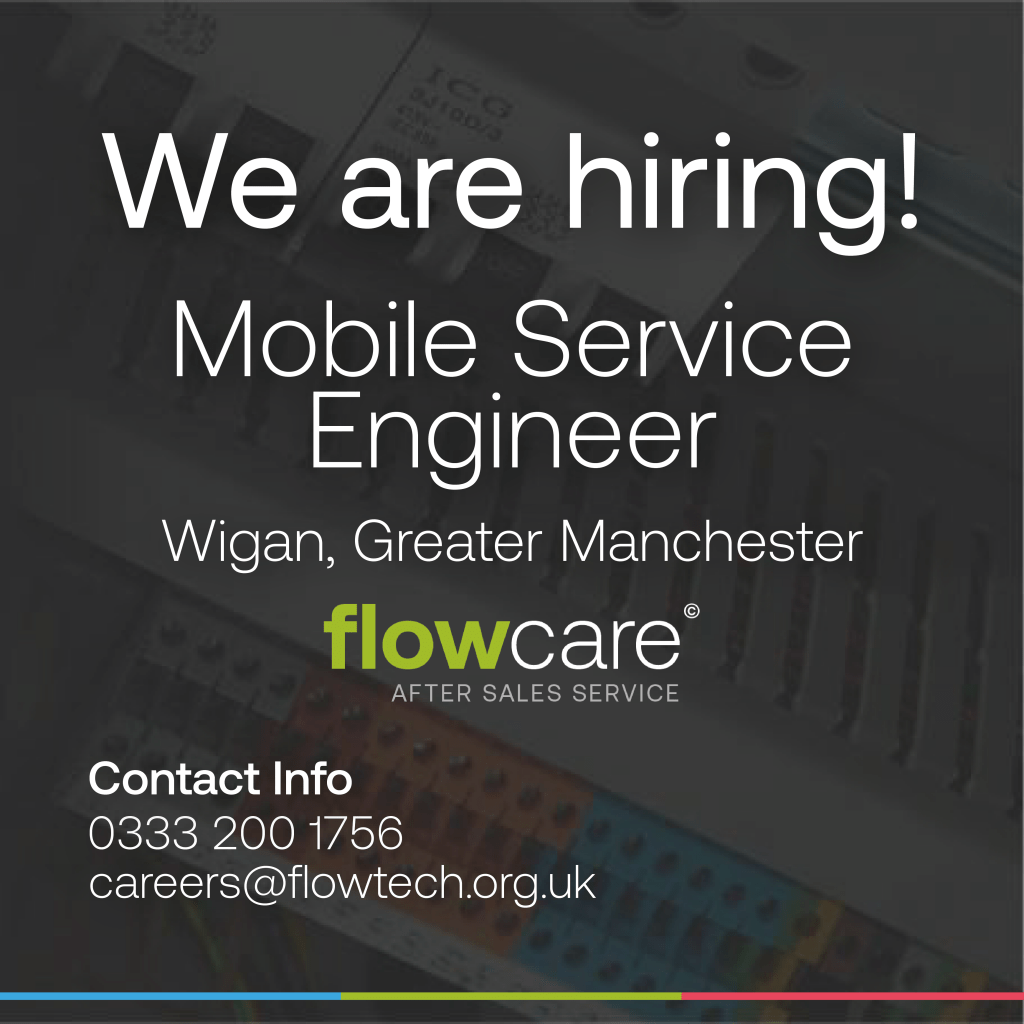 We are hiring! Flowtech Water Solutions are looking for an ambitious hardworking and experienced mobile service engineer with drive and ambition to join our team.